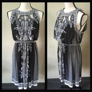 Black and white floral paisley dress.